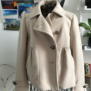 Anthropologie Cream Coat Size 6
